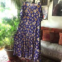 WOMAN WITHIN sz 2X Purple Blue & Yellow Floral Print Long Crinkle Maxi Dress