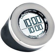 Seth Thomas Round Black World Time Multi-function Table Desk Clock LCD Display