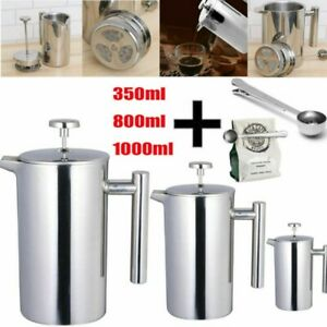 Insulated Coffee Tea Plunger 350ml 800ml 1000ml French Press Stainless Steel