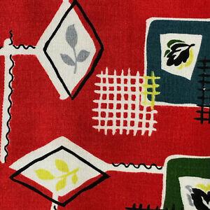 1950s VINTAGE COTTON FABRIC - MID-CENTURY MODERN 'ATOMIC' DESIGN - UNUSED