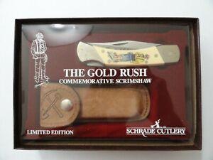 VINTAGE SCHRADE+ LIMITED EDITION GOLD RUSH SCRIMSHAW KNIFE W/ SHEATH