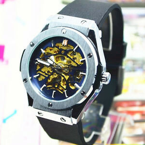 Winner Automatic Stainless Steel Case Skeleton Mechanical Watch Silicone Strap
