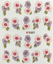 Nail Art 3D Decal Stickers Purple & White Flowers E007