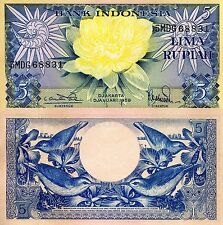 INDONESIA 5 Rupiah Banknote World Paper Money UNC Currency Pick p65 Sunbirds