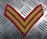 Genuine British Forces Braided Corporal Rank Stripes 2 Chevrons Gold on Red EPB9