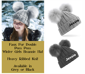 Personalised Embroidered Girls Winter Double Pom Pom Beanie Bobble Hat Any Name