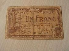 billet   1 francs  chambre de commerce de granville