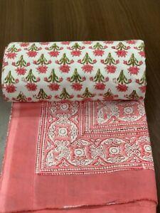Duvet Cover King Small Flower Hand Block Printed On Organic Cotton Comforter Set