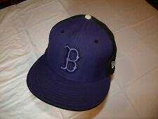 Boston Red Sox Hat Purple Front/Black Back New Era 59Fifty Fitted 7 1/2 WOOL USA