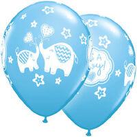 "10 pc 11"" Blue Boy Elephants Latex Balloon Decoration Baby Shower Welcome Animal"