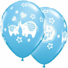 "10 pc 11"" Blue Boy Elephants Latex Balloon Decoration Baby Shower Welcome Animal"