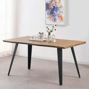 Modern Dining Table Oak or Walnut Effect with Wave Edge Design   4 or 6 Seater
