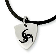 Stainless Steel Enameled Pendant On A braided Cord 18 Inch Necklace