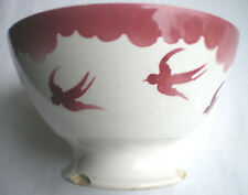 French Art Nouveau Majolica bowl signed FB, France Badonviller: Red Swallows