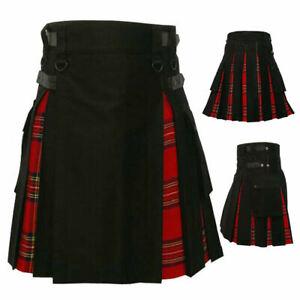 Men's Hybrid Leather Straps Black Red Cotton Utility Kilt Cotton & Irish Tartan