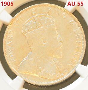 1905 China Hong Kong Edward VII 50 Cent Silver Coin NGC AU 55