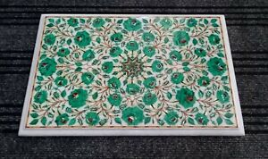18 x 12 Inches Malachite Marble Bedside Table Top Floral Design Coffee Table