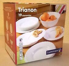 LUMINARC Trianon White19 pcs Dinner set for 6 Microwave Dishwasher safe