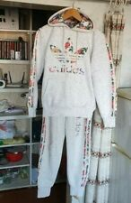Adidas Women's Tracksuit White Floral 3 Stripes Hooded Jacket Pants Set Size XS