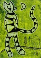 21012003 e9Art ACEO Cat Abstract Figurative Art Primitive Folk Painting Naive