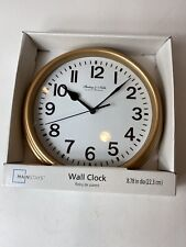 """Sterling & Noble Mainstays Wall Clock Gold Color Black & White Face 8.78"""""""