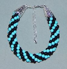 Turquoise Howlite Bead & Black Glass Pearl Bracelet - NEW