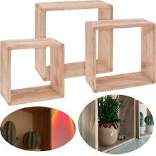 3x Cube Holz Wand-Regal Set Quadrat Lounge Hängeregal Setzkasten Standregal