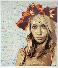 "ORIGINAL Canvas Art by Street Graffiti Artist Zaira! Titled ""Stamps"" Signed 1/1"