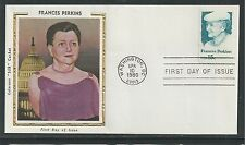 # 1821 FRANCES PERKINS, 1st Woman in Presidential Cabinet 1980 Colorano Silk FDC