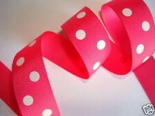 """5 yard Polka Dot Grosgrain 7/8"""" Ribbon/gift/hair bow/Fuchsia SHOCKING PINK R43-Y"""