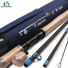 11FT 6WT Switch Medium Fast Fly Fishing Rod & 2 Switchable Fighting Butts