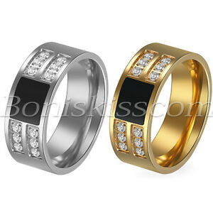 Men's Polished Stainless Steel Zircon Wedding Engagement Band Anniversary Ring