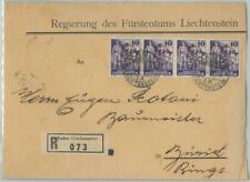 82062 - LIECHTENSTEIN - Postal History - SERVICE stamps on REGISTERED COVER 1937
