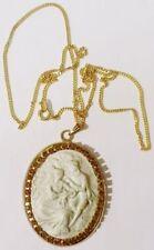 pendentif chaine bijou vintage camée relief cristaux citrine couleur or * 4726