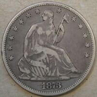 1873 No Arrows Seated Liberty Half 50c F-VF As Pictured