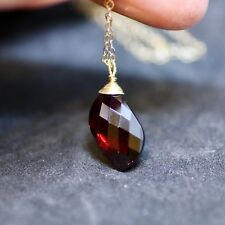 Fancy Briolette Natural Garnet Pendant Wire Wrapped in Solid 14K Yellow Gold