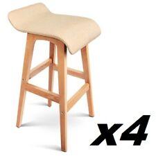 4x Linen Fabric Bar Stool Kitchen Cafe Chair Fixed Chrome Timber Leg Beige