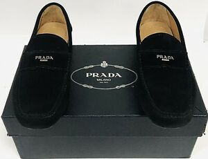 Prada Men's Suede Driving Moccasins Loafers Slip-On Black US Size 8.5 New In Box