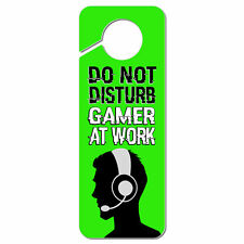 Do Not Disturb Gamer at Work Boy Male Man Plastic Door Knob Hanger Sign