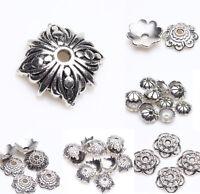Wholesale Tibet Silver Metal Loose Spacer Bead Flower Caps Jewelry Finding DIY