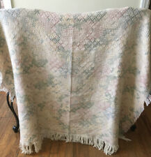 Vintage Woven Cotton Throw Blanket Pastel Floral Hearts Green Pink Yellow