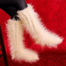 SUPERTANYA Hand knitted mohair socks fuzzy handcrafted soft IVORY leg warmers