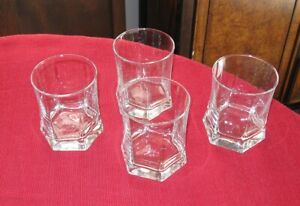 Rocco Bormioli Old Fashioned lot of 4 Capitol Pattern signed glasses FREE SHIP!!