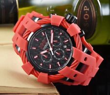 MENS INVICTA BOLT 23870 RED SILICONE BAND S/STEEL CASE CHRONOGRAPH WATCH