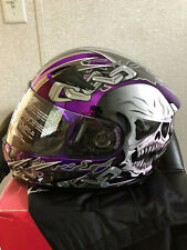 Masei 816 Purle Chrome Skull DOT Full Face Motorcycle Bike Helmet AA1 SIZE-LARGE