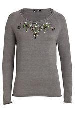 Geblümte Damen-Pullover mit Rundhals-Ausschnitt aus Baumwolle