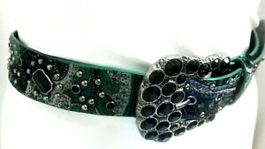 Women's Turquoise Rivet and Glitter Waist Belt with Black Stones Buckle size L