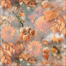 4 SERVIETTEN NAPKINS ORANGE AUTUMN 33X33 ROTKEHLCHEN HERBSTLAUB DALIEN PHYSALIS