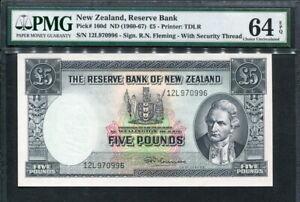 New Zealand 1960-1967, 5 Pounds, P160d, PMG 64 EPQ UNC