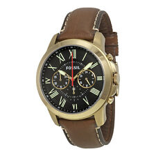 Fossil Grant Black Dial Brown Leather Mens Quartz Watch FS5062